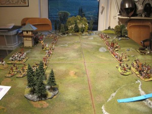 The battle field with the Romans deployed in front of their watch tower.