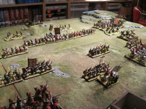 The field of battle as the Saxons press forward to close with the romans
