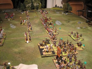 The Roman light horse hold back the large unit of Picts with ease.