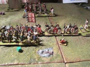 The Romans defeat the charging Saxons led by Octha, who escapes.