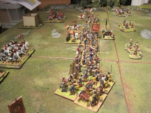 The view of the battle line as the Picts and Saxons push forwards.