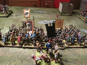 Aelle and Theodosius face to face leading the centre of the battle lines.