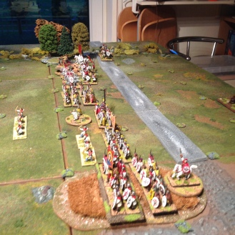 The Roman line advances steadily. A unit of light archers gets carried away with its enthusiasm but fails to fire.