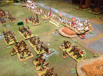 The Picts also advance rapidly. The unit of archers has succeeded in drawing out one unit ahead of the line of spears (being caught and Lost doing so).