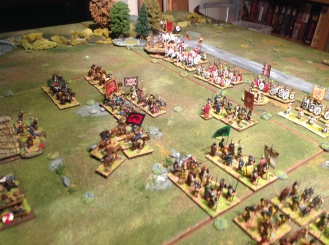 The Pictish King rides to fill the gap and the Angle cavalry fail to move at all. A theme that gets oft repeated throughout the battle!