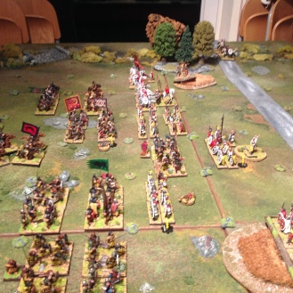 The lines close to the North as the British cavalry advance to the South.