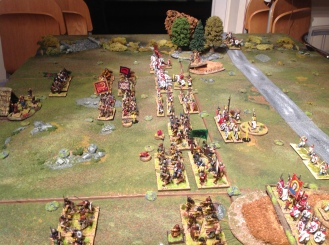As the spearmen clash with the Romano-British infantry a gap opens in the British line.
