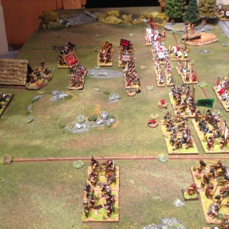 The British cavalry drive away the Barbarian cavalry (who evade). The Angle cavalry remain motionless whilst all this goes on around them.