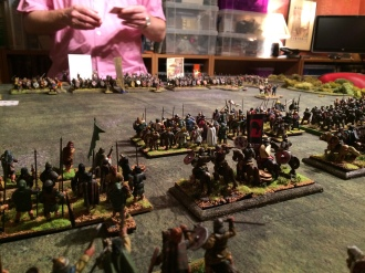The British cavalry deployed in reserve behind the Scots Spearmen