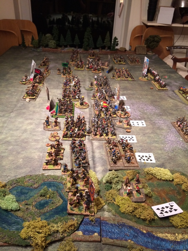 The Irish attempt to cross the marsh but are held back by Saxon Javelinmen