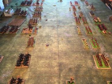 The armies close as battle commences