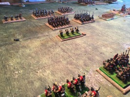 Roman light cavalry advance to skirmish against the Persian cataphracts but are ridden down when failing to evade