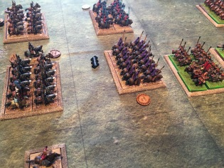 The Persian cavalry close with the Roman left wing having driven away the camel light troopers