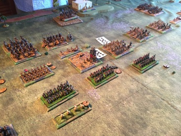 The auxiliaries fair badly. A unit including the general is lost facing the levy and the unit facing the elephants falls into disorder