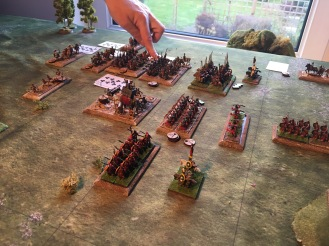 Not forgetting the action on the right flank. The elephant proves resistant to all archery, ballista bolts and pila . The Persian cavalry manoeuvre to their left hoping to encircle the legionnaires