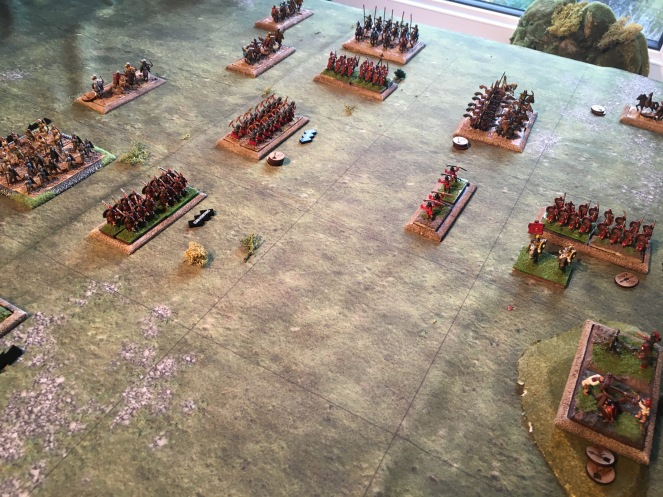 The Roman legions begin to close and push back the Persians, turning to defend the flanks.