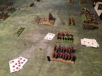Roman heavy cavalry halt the Persian cataphracts whilst the auxilia retreat in disorder towards the camp fortifications and safety